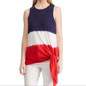 ** NEW ** Chaps Red White Blue Tie Front Tunic Top
